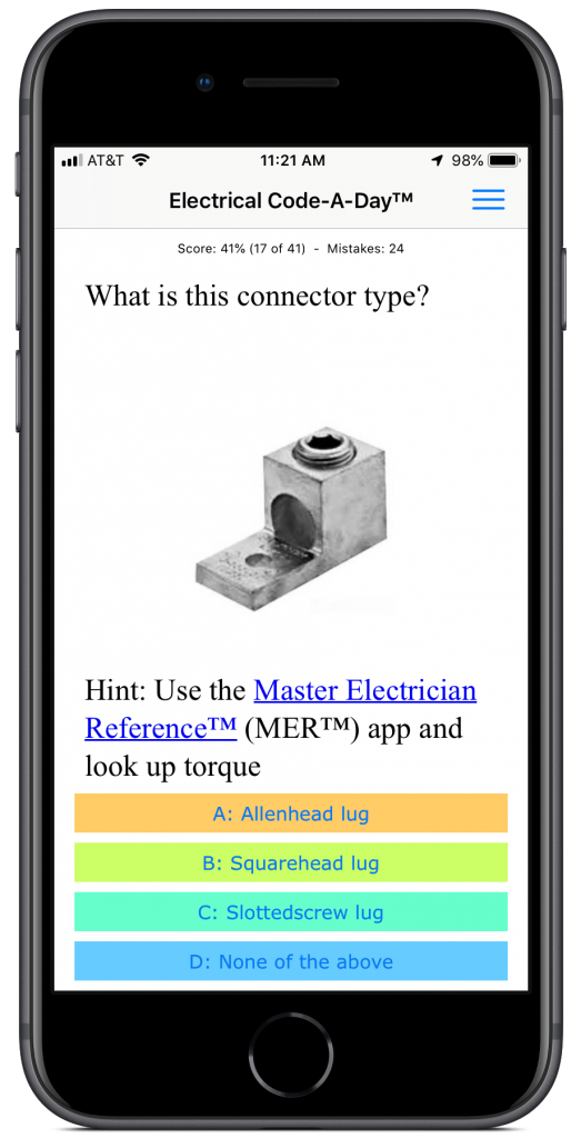 Electrical Code-A-Day app for iOS